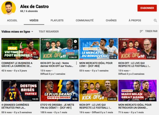 Chaine Youtube d'Alex de Castro