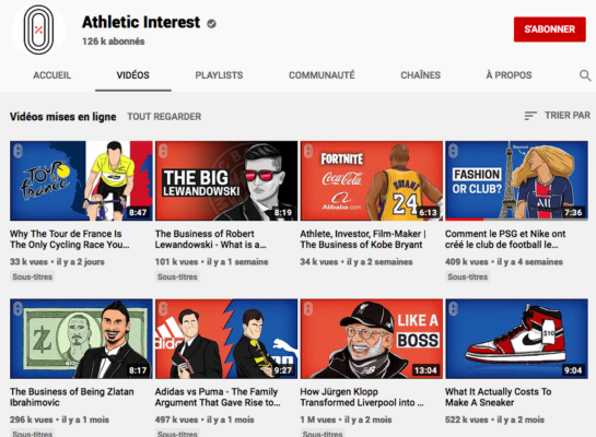Chaine Youtube Athletic Interest