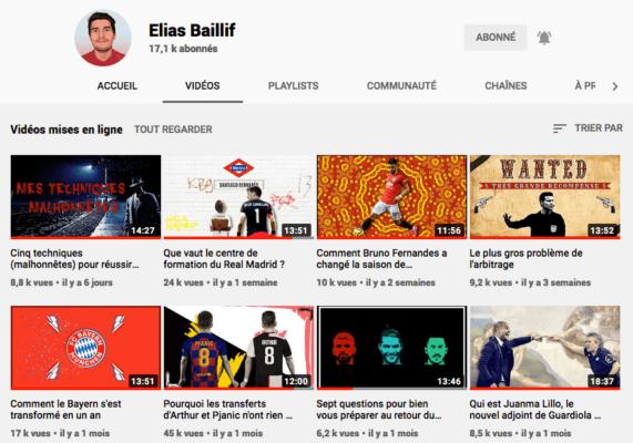 Chaine Youtube d'Elias Baillif