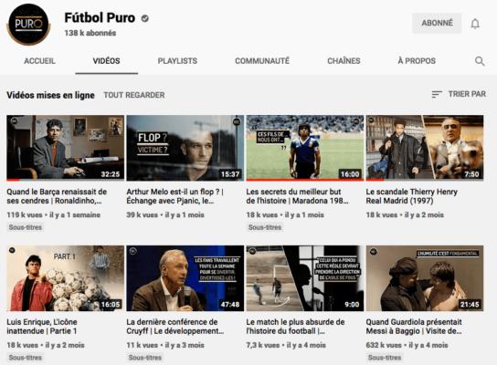 Chaine Youtube de Futbol Puro