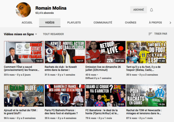 Chaine Youtube de Romain Molina