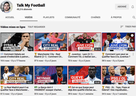 Chaine Youtube Talk to My Football