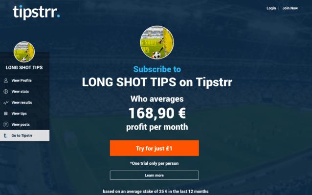 Tipstrr Tipster Gagnant Long Shot Tips